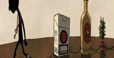 hombre encadenado a alcohol